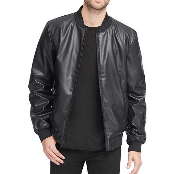 Black men's genuine leather bomber jacket