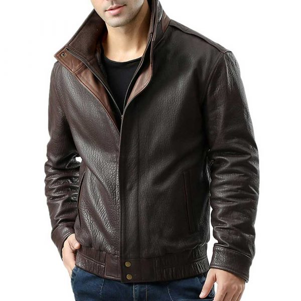 Brown Double Collar Leather Jacket
