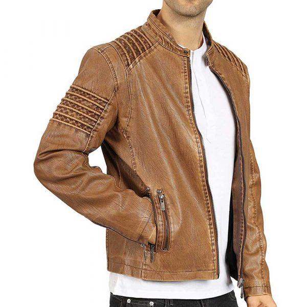 Brown Vintage Leather Bomber Jacket Men's