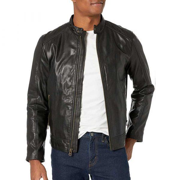 Genuine Black Leather Motorcycle Jacket Men's