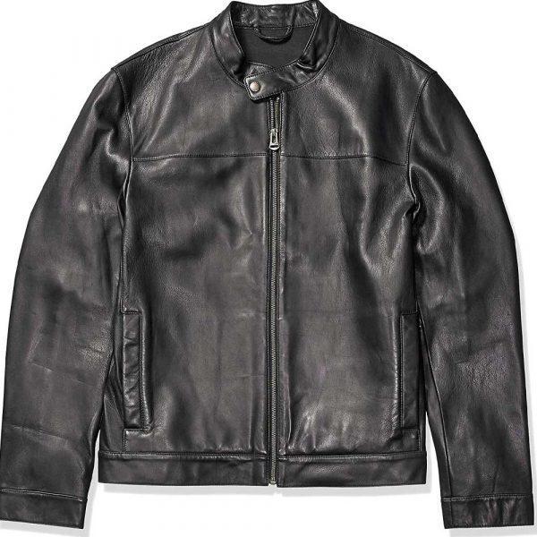 Mens Black Leather Biker Jacket