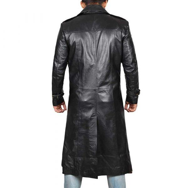 Black Genuine Leather Trench Coat Mens
