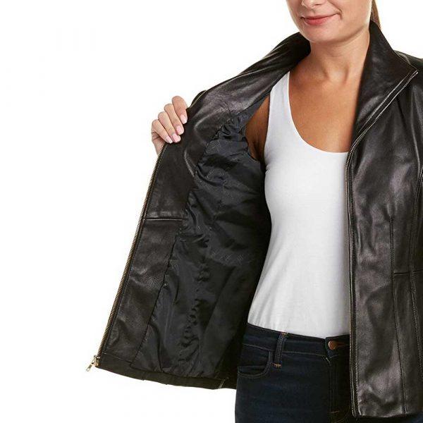 Black Genuine Leather Jacket Women Long