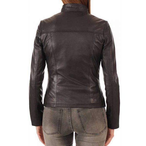 Black Leather Bomber Jacket Womens