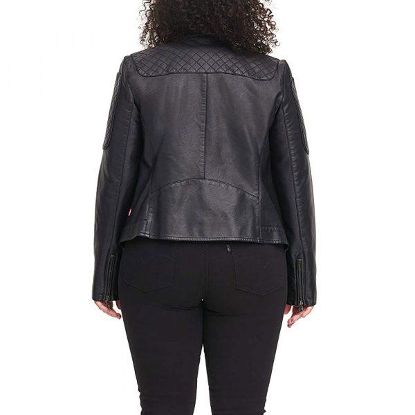 Black Leather Racer Jacket Womens