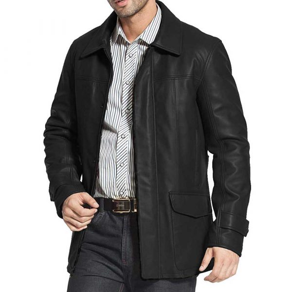 Black Leather Trench Coat Men's
