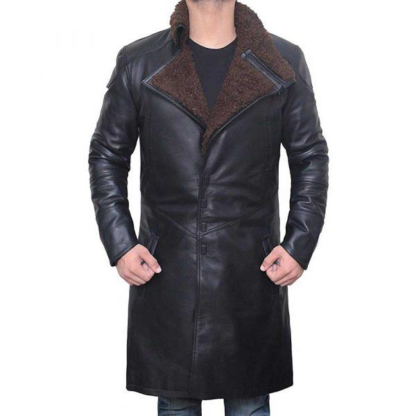 Black Shearling Trench Coat Men's
