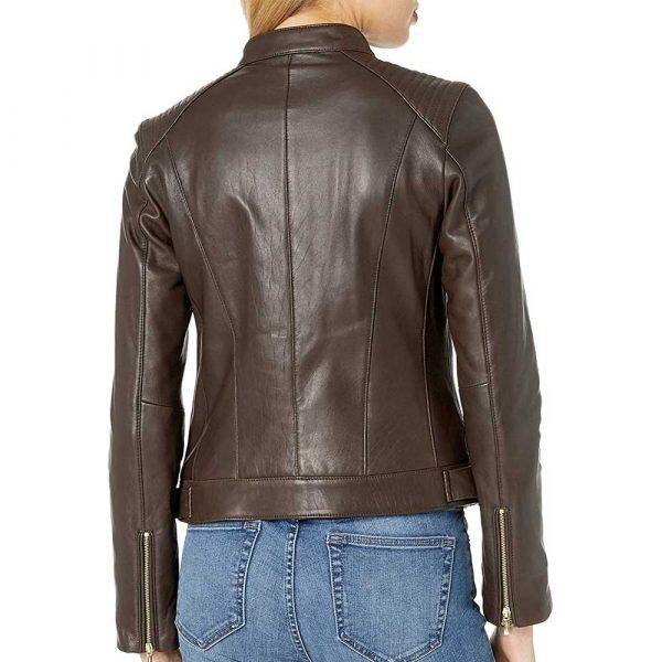 Dark brown quilted leather moto jacket