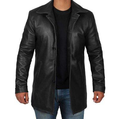 Men's Black Leather Trench Coat