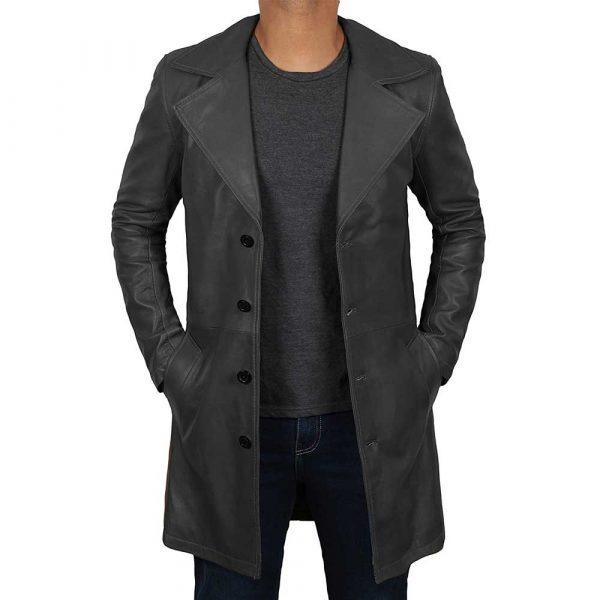 Men's Black Leather Trench Coat Full Length