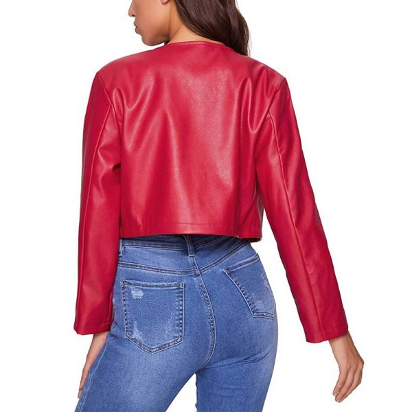 Red Cropped Leather Jacket Womens
