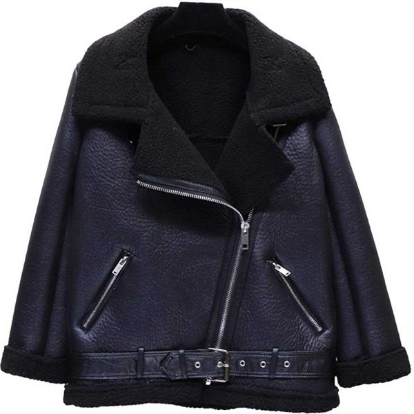 Shearling Black Leather Jacket With Fur Collar Women