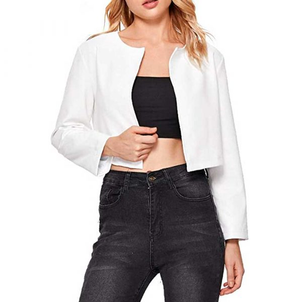 White Cropped Leather Jacket Womens
