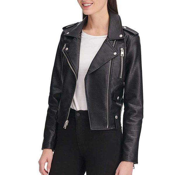 Womens Black Leather Motorcycle Jacket