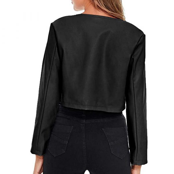 Black cropped leather jacket womens