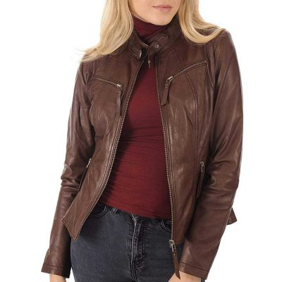 brown leather bomber jacket women
