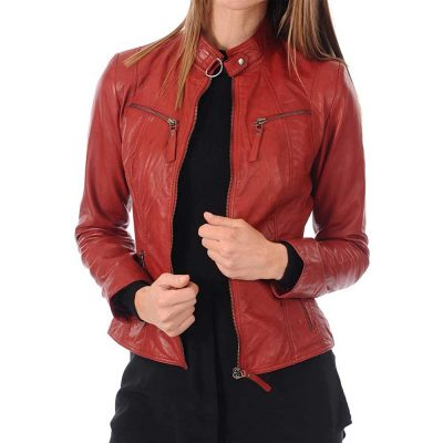 red leather bomber jacket womens