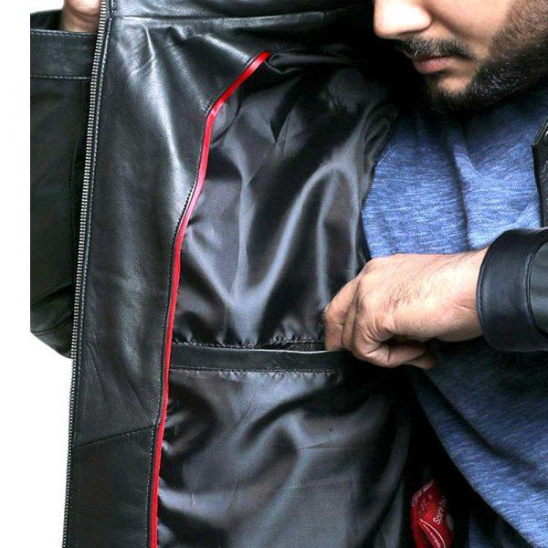Black Cognic Leather Mens Jacket