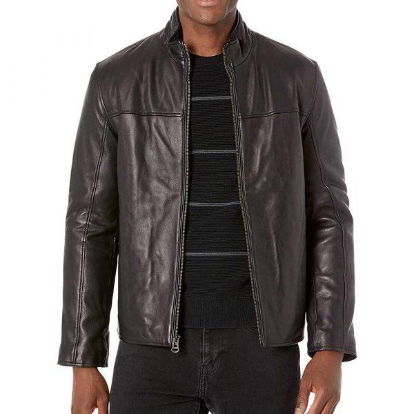 Black Men's Stand Collar Leather Jacket