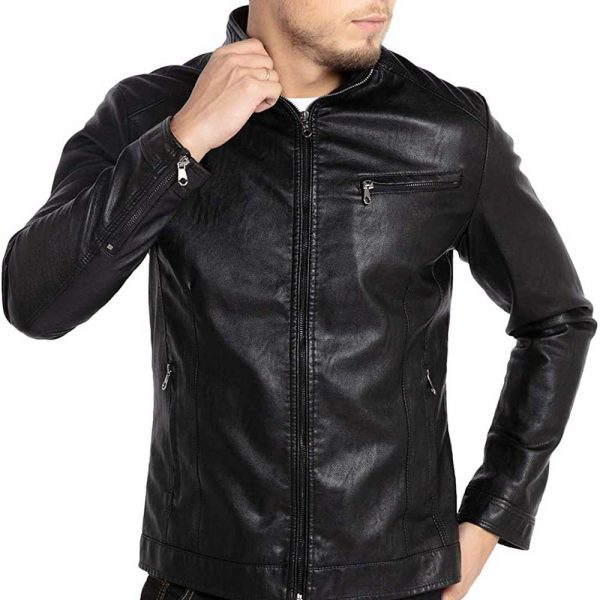Black Stand Collar Leather Jacket Mens