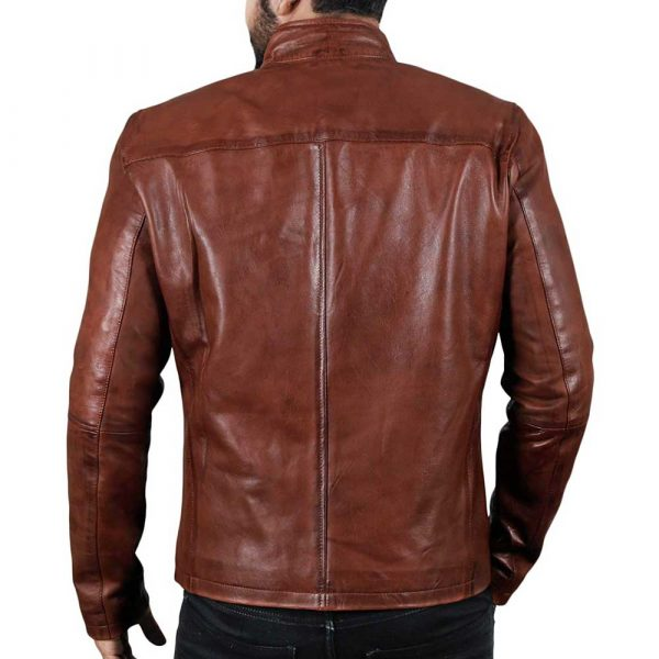 Brown Classic Leather Jacket Mens