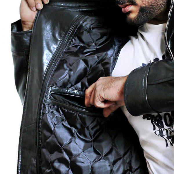 Brown Leather Moto Jacket Men's