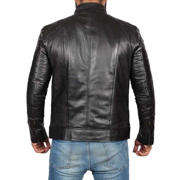 Distressed Black Leather Motorcycle Jacket