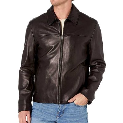 Genuine Black Leather Jacket With Collar Mens