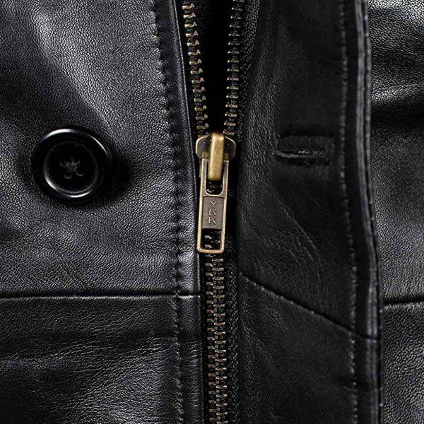 Mens 3/4 Length Black Leather Jacket
