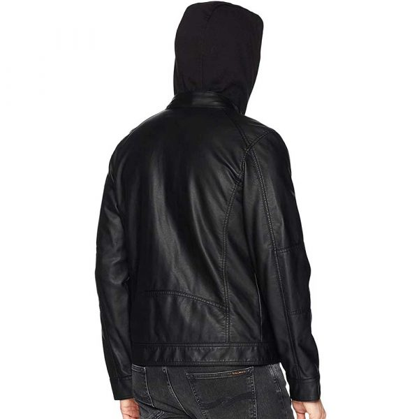 Mens Black Leather Jacket With Hood