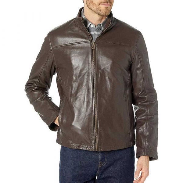 Brown men's stand collar leather jacket