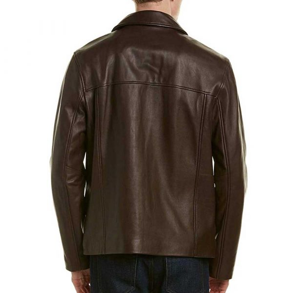 Genuine brown leather jacket with collar mens