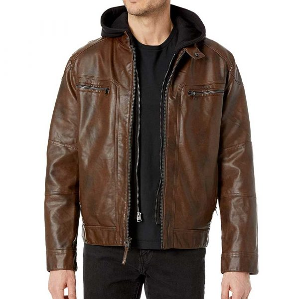 Mens hooded leather motorcycle jacket