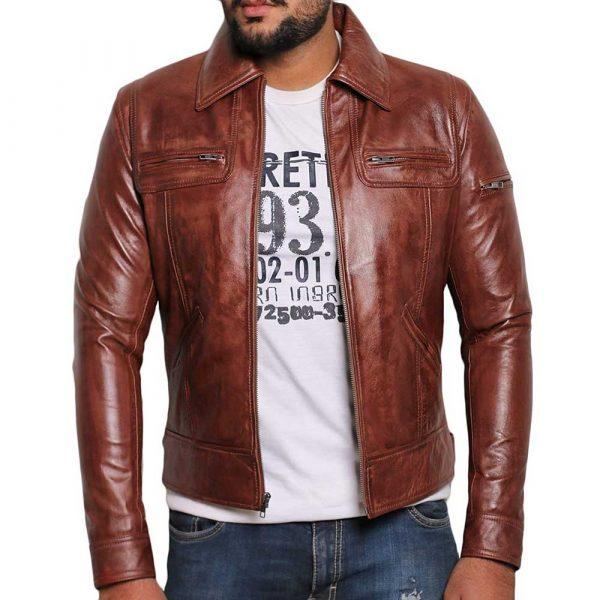 Wax brown leather moto jacket men's