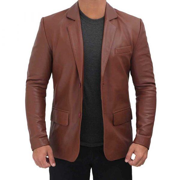 mens brown leather blazer jacket
