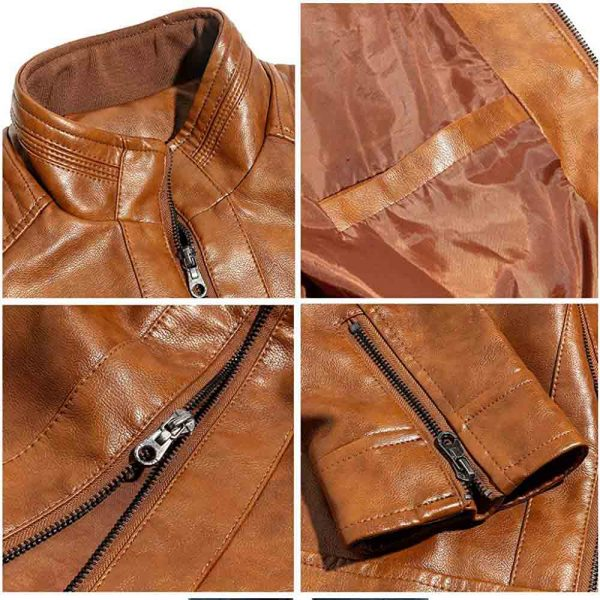 men's stand up collar leather jacket