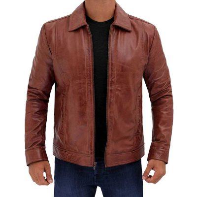 vintage Brown leather jacket mens