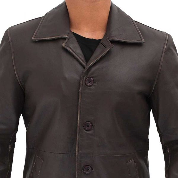 mens dark brown leather trench coat