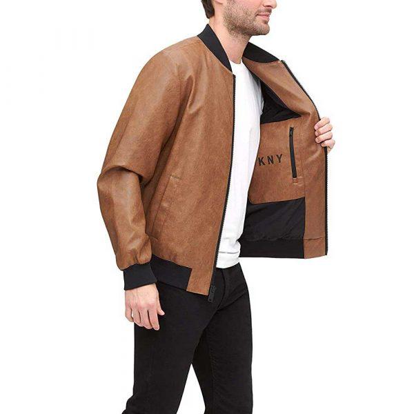 Brown men's genuine leather bomber jacket