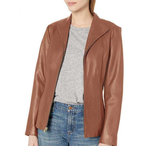 Cognac Genuine leather jacket women long