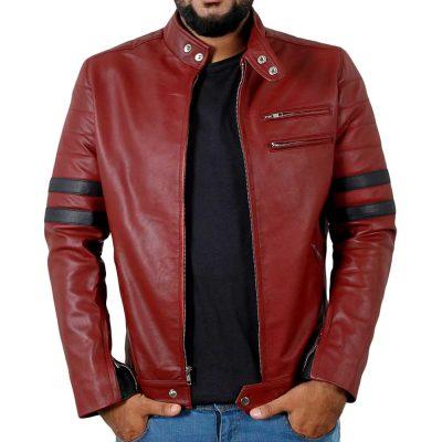 Genuine Maroon lambskin leather mens jacket