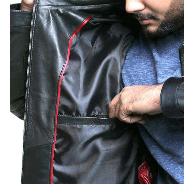 Genuine brown lambskin leather mens jacket
