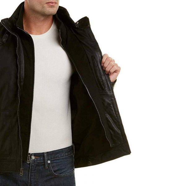 black hooded leather jacket for men