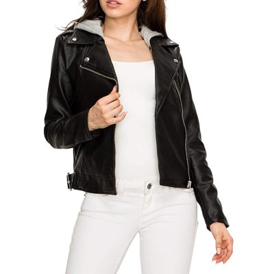 black rivet leather jacket with hood for women