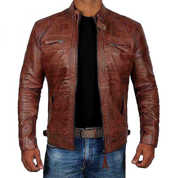 brown leather cafe racer jacket
