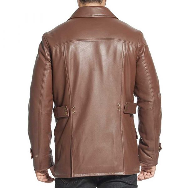 brown leather trench coat mens