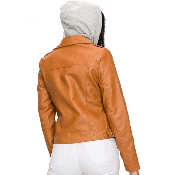 brown rivet leather jacket with hood for women