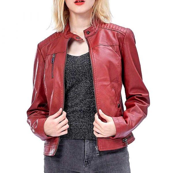 burgundy leather jacket womens