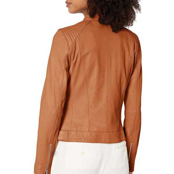 cognac quilted leather moto jacket