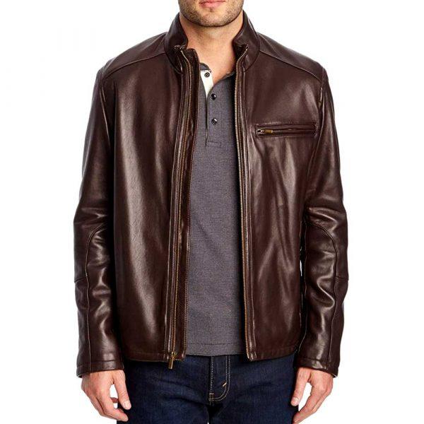 mens brown leather moto jacket